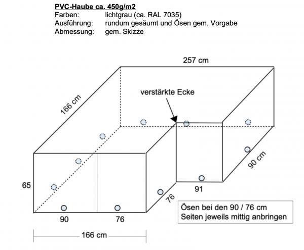 PVC-Haube 166 x 257 cm (gem. Skizze) - grau